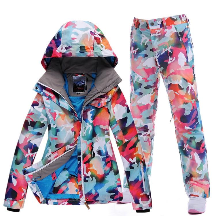 2017 good GSOU SNOW female ski suit set camouflage Ski wear waterproof thermal warm winter snow clothes women snowboard dress