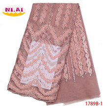 Latest African Lace Fabric 2018 High Quality Lace Gold Trim French Lace Fabric White Lace Fabrics For African Parties NA1789B-1