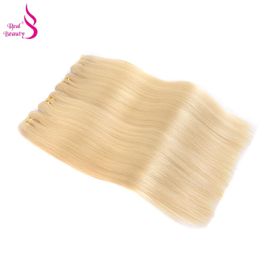 Real Beauty 613 Platinum Blonde Brazilian Straight Hair Bundles 100 Human Hair Weave Bundles Honey Blond