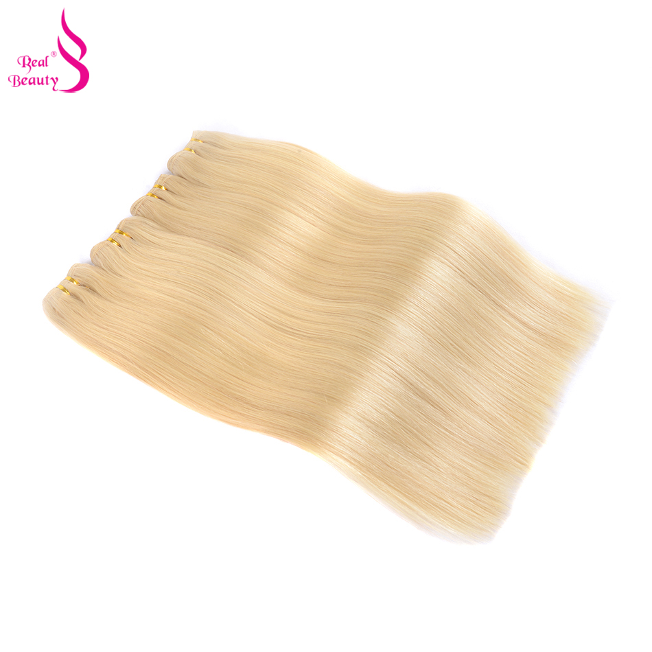 Real Beauty 613 Platinum Blonde Brazilian Straight Hair Bundles 100% Human Hair Weave Bundles Honey Blond Remy Hair Bundles
