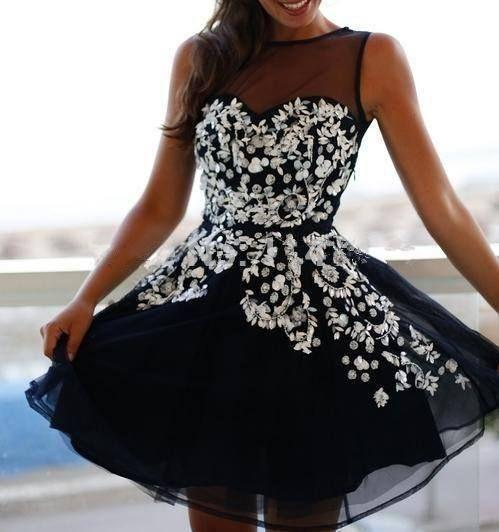 Shiny Sequins Noble Black Short Cocktail Prom Dresses Crew Sheer Neckline Sleeveless Organza Crystals A Line Party Gowns