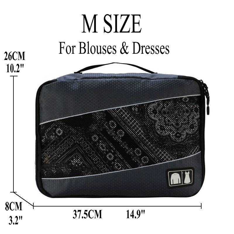 Soperwillton упаковочные кубики, нейлоновая дорожная сумка-Органайзер, Воздухопроницаемая сетчатая дорожная сумка для мужчин и женщин, органайзер для путешествий - Цвет: Gray M