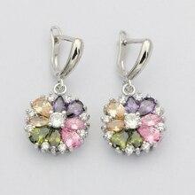 Натуральные Разноцветные серьги с кубическим цирконием, 925 пробы серебряные ювелирные изделия, висячие серьги с камнями для женщин
