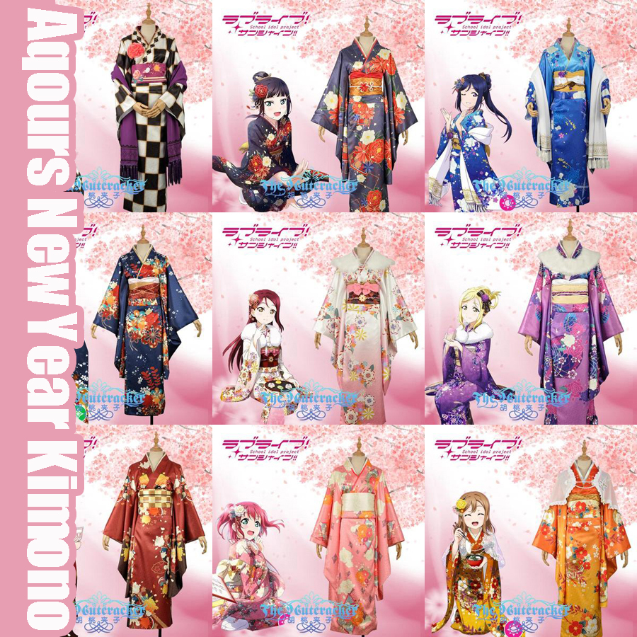 Collection!Anime Love live Sunshine!! Aqours New Year Kimono Yoshiko Riko Kanan You Mari Chika Cosplay costume NEW 2017 FREE SHI ...