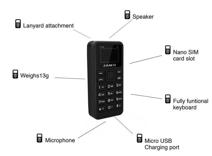 ZANCO minuscule T1 monde plus petit téléphone portable débloqué Mini téléphone Mobile de base pour les personnes âgées et les enfants - 6