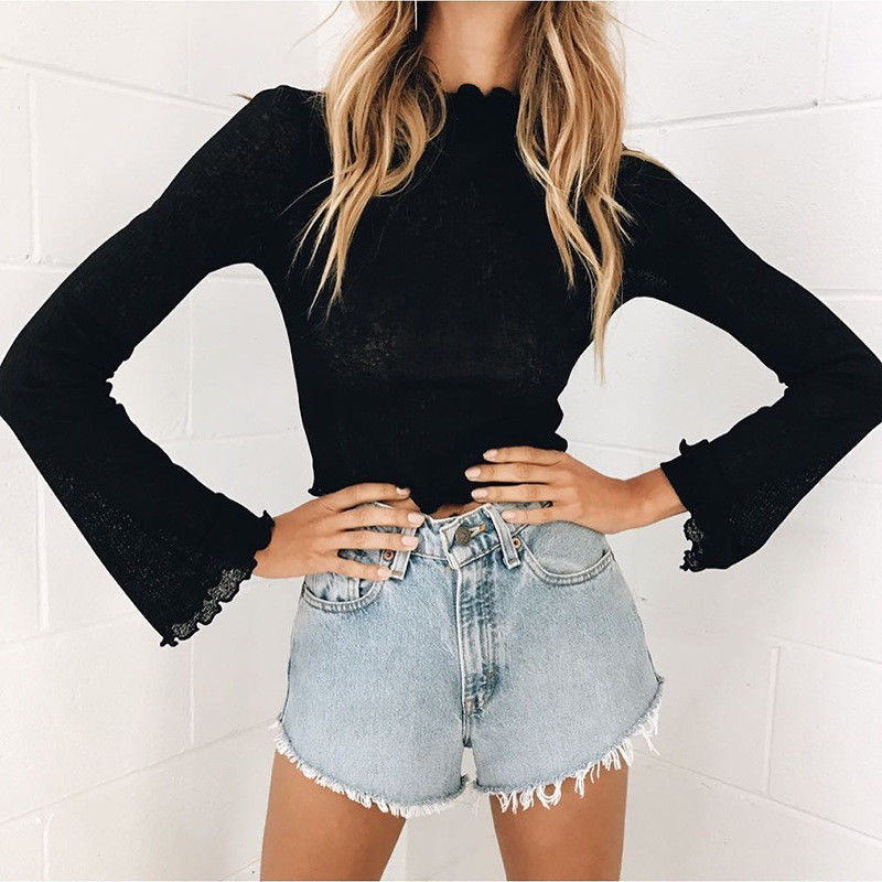 Fashion Women's Summer Loose Top Long Sleeve Blouse Ladies Casual Short Tops Shirts Black White