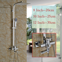 Single Handle Brass Shower Mixer Valve Rotate Tub Spout Shower Faucet Wall Mounted Rainfall Shower Panel