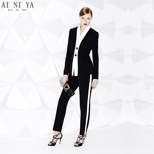 248fb7d75fbf2 Bianco + Nero Delle Donne Abbigliamento Formale Tailleur Pantalone Donna di  Affari Tuta di Lavoro per