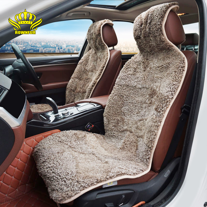 ROWNFUR Brand Universal Car Seat Covers Sheepskin Fur Seat Cushion 2 pc Car Front Seat Or