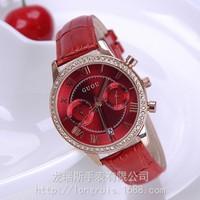 6 Color 2016 New Arrival Women Rhinestone Watches Luxury Quartz Watch Five Point Watch Genuine