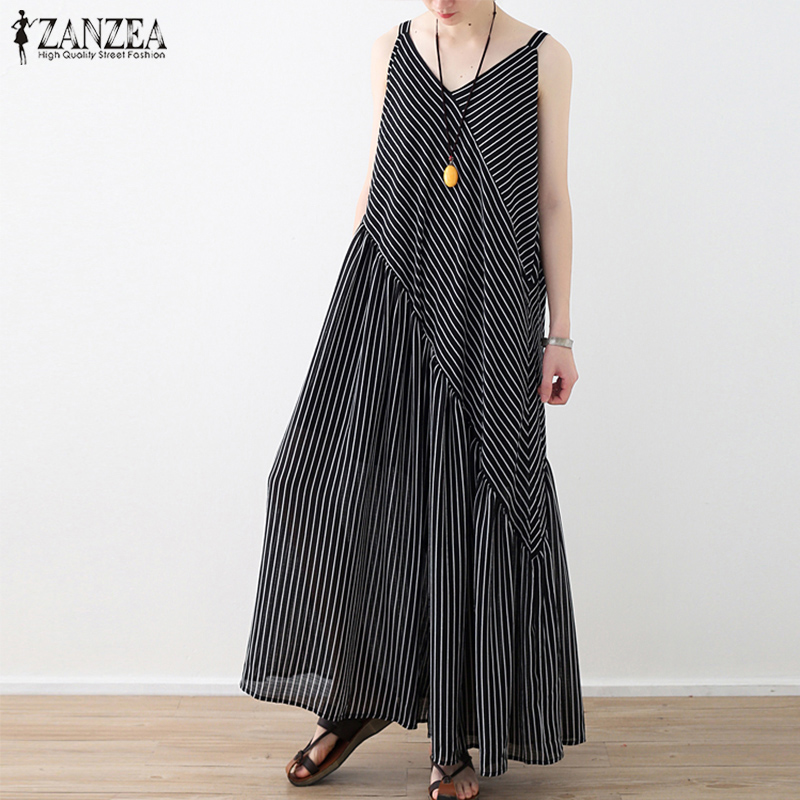 2019 ZANZEA Women Summer Chiffon Wide Leg Pants Casual Patchwork Striped   Jumpsuits   Sleeveless Flare Rompers Beach Loose Overalls