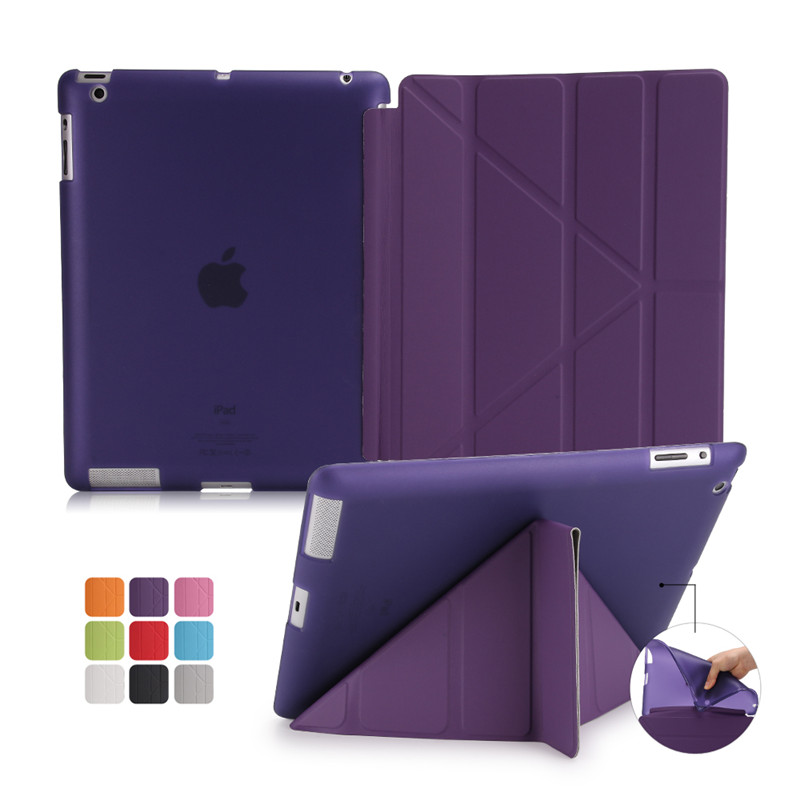 Cover For Ipad 2 Case For Ipad 3 For Ipad 4 4 Folded Stand Tablet Smart PU Leather TPU Flexible Silicone Soft Back Front Case