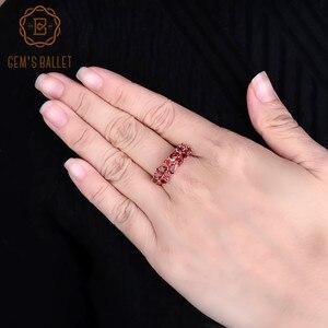 Image 3 - GEMS BALLET 925 Sterling Silver Rose Gold Plated Wedding Band 2.47Ct Natuurlijke Rode Granaat Edelsteen Ringen voor Vrouwen Fijne Sieraden