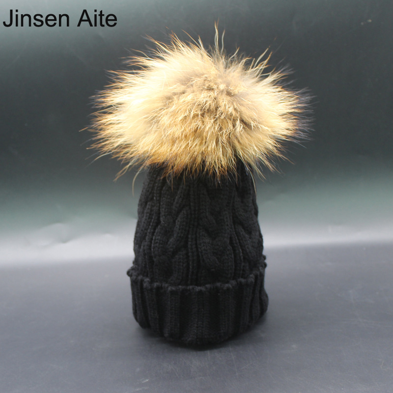 NEW 2017 Winter Warm Raccoon Fur Ball Baby Hat Crochet Knitted Caps for Boys Girls Solid Children Gorros Para Bebe Beanies 3071 new star spring cotton baby hat for 6 months 2 years with fluffy raccoon fox fur pom poms touca kids caps for boys and girls