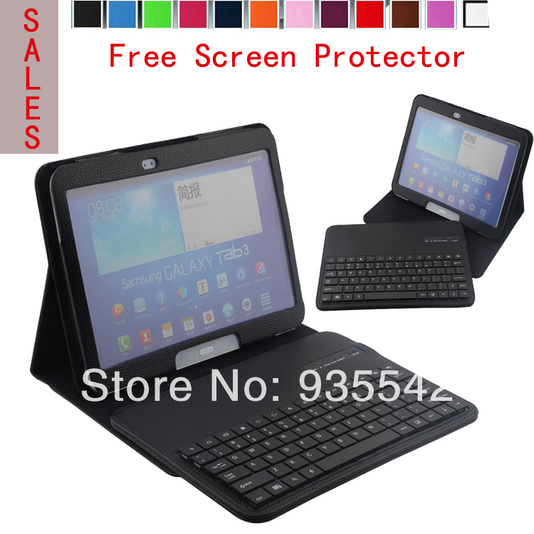 DETACHABLE Wireless ABS Bluetooth KeyBoard Portfolio Leather Stand Case for Samsung Galaxy Tab 3 10.1 inch P5200 P5210 (Black)
