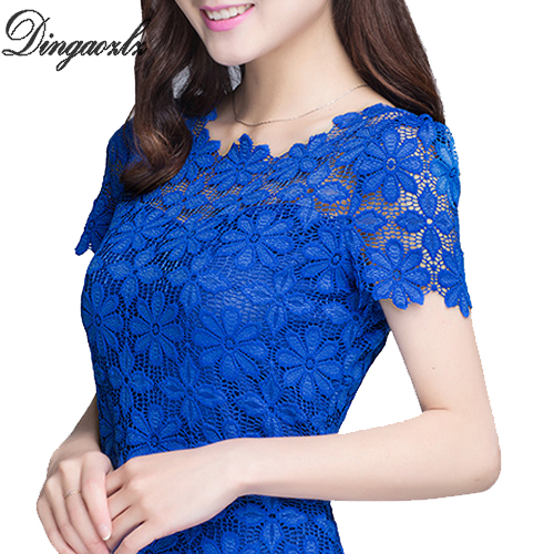 M-XXXXXL New 2018 Fashion Ladies Blouses Shirts Plus size Clothing Summer Women's Short-sleeve Lace Tops Female 7 Colors