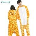 Зима Мужская Косплей Животных пижамы один кусок Фланели Мультфильм Для Взрослых Жираф Пижамы для женщин Onesies Пижамы