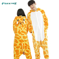 Winter Unisex Party Cosplay Animal pajamas one piece Flannel Cartoon Adult Giraffe Pajamas for women Onesies Sleepwear