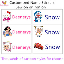 Free shipping Cartoon Sew Iron on Cloth stickers Customize Kids Name water proof patch Kindergarten School Identify toddler gift