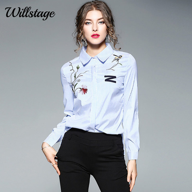 263c33edc9f Willstage Blue Striped Shirts Women Floral Embroidery Blouse Formal Office  ladies Work wear elegant New 2018 Spring Autumn Tops