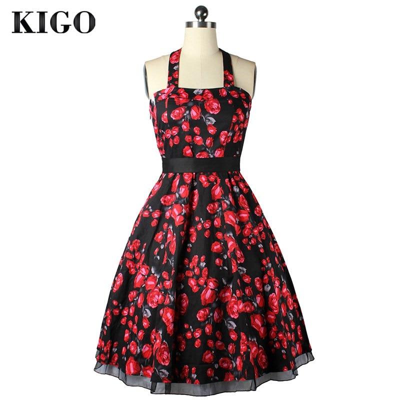 Киго Лето Винтажные наряды Одри Хепберн 1950 s рокабилли платье Свинг 50 s ретро Холтер  ...