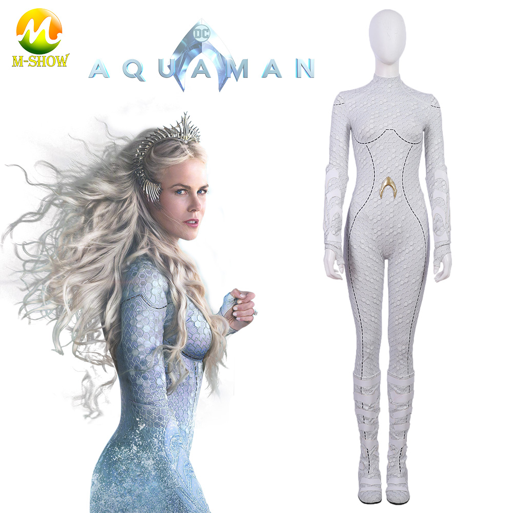 Aquaman costume Atlantis Queen Atlanna Cosplay Costumes Women  Jumpsuits white Bodysuits movie cosplay Party Suit
