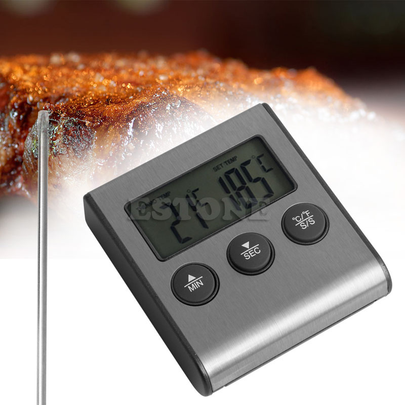 Digital Probe Oven Meat Thermometer Timer for BBQ Grill Meat Food Cooking New F1FB