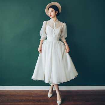 Charming Wedding Dress 2019 Real Photo Weddingdress Hepburn Vestido De Noiva Gown Formal Dress Satin Bridal Dress Travel Photo