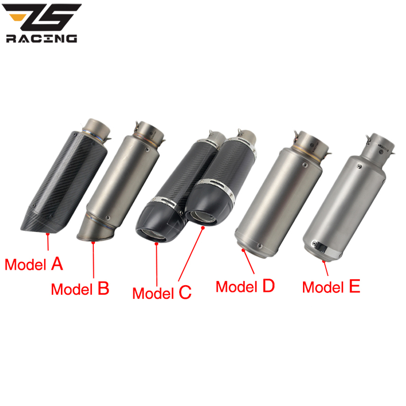 ZS Racing 51mm Motorcycle Exhaust Muffler SC GP Escape Exhaust Mufflers Carbon Fiber Exhaust Pipe For Z1000 Z750 Z800 NINJA250 zs racing 51mm motorcycle exhaust muffler sc gp escape exhaust mufflers carbon fiber exhaust pipe for z1000 z750 z800 ninja250