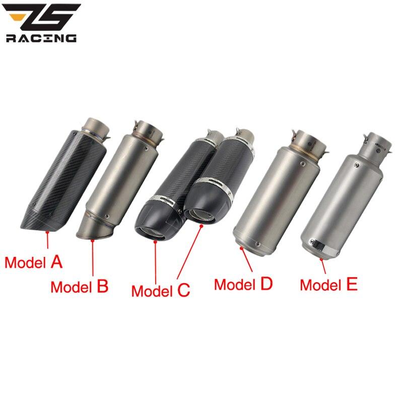 ZS Racing 51mm Motorcycle Exhaust Muffler SC GP Escape Exhaust Mufflers Carbon Fiber Exhaust Pipe For Z1000 Z750 Z800 NINJA250