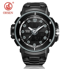 NEW Arrival OHSEN Fashion Quartz Digital Watch Men LED Alarm Analog Sports Watch Men Silicone Strap Army Wristwatch Hombre Clock цены онлайн