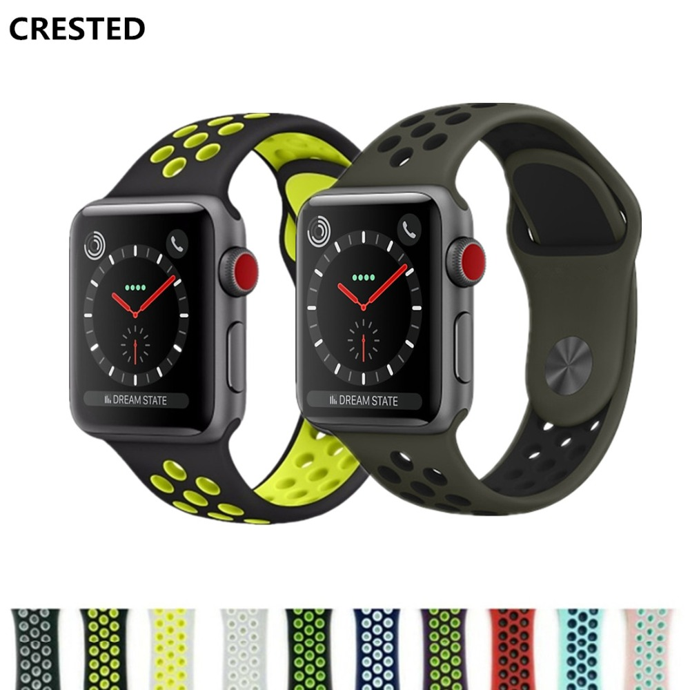 CRESTED Sport strap For Apple Watch band 42mm 38mm silicone iwatch series 3 2 1 Nike wrist bands bracelet Rubber watchband belt sport silicone strap case for apple watch band 42mm 38mm bracelet nike watchband protective case for iwatch 3 2 1 wrist belt