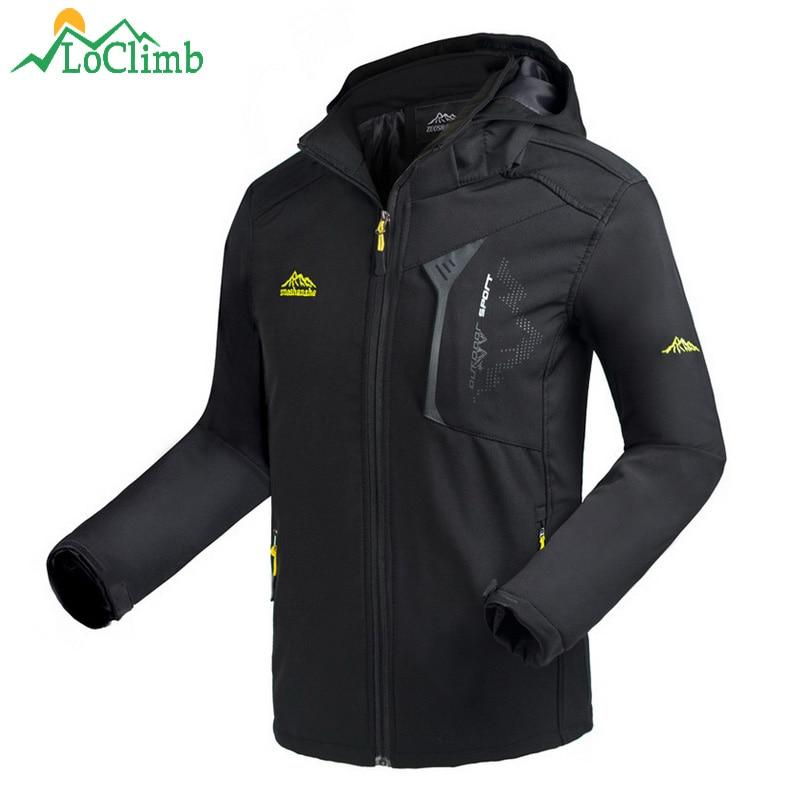 LoClimb Men's Oudoor Softshell Jacket Men Spring/Autumn Coat Climbing/Trekking Windbreakers Waterproof Hiking Jackets Man AM372