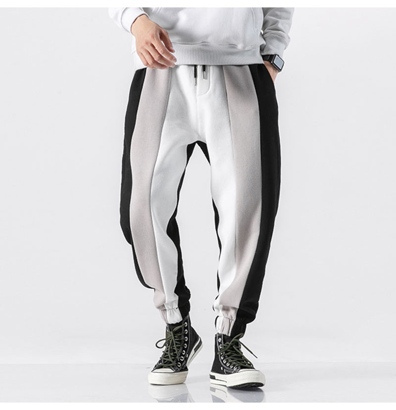Aolamegs Men Casual Track Pants Splice Contrast Pants Men Letter Print Elastic Waist Sweatpants Men High Street Pants Streetwear (12)