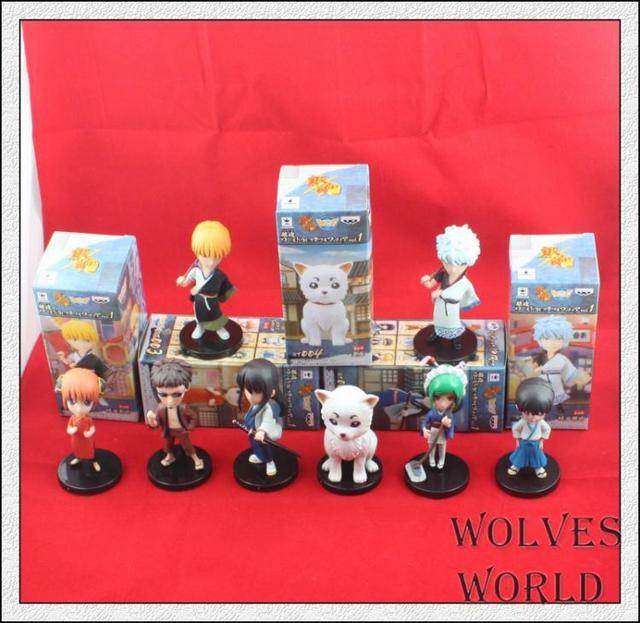 8pcs/set Gin Tama Gintama Sakata Gintoki Silver Soul Action Figures PVC brinquedos Collection Figures toys for christmas gift