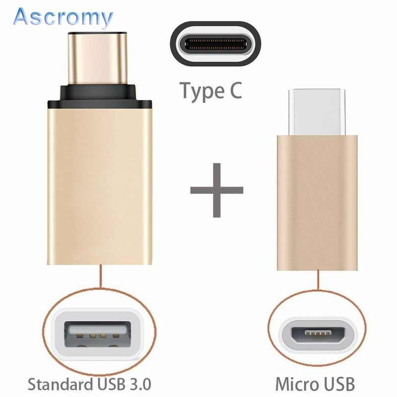 Ascromy 2 in 1 USB C OTG Typ C zu Micro USB Adapter Für Xiaomi mi mix 2 Samsung Galaxy S8 Plus Note 8 Oneplus 5 LG G6 G5 Typ C