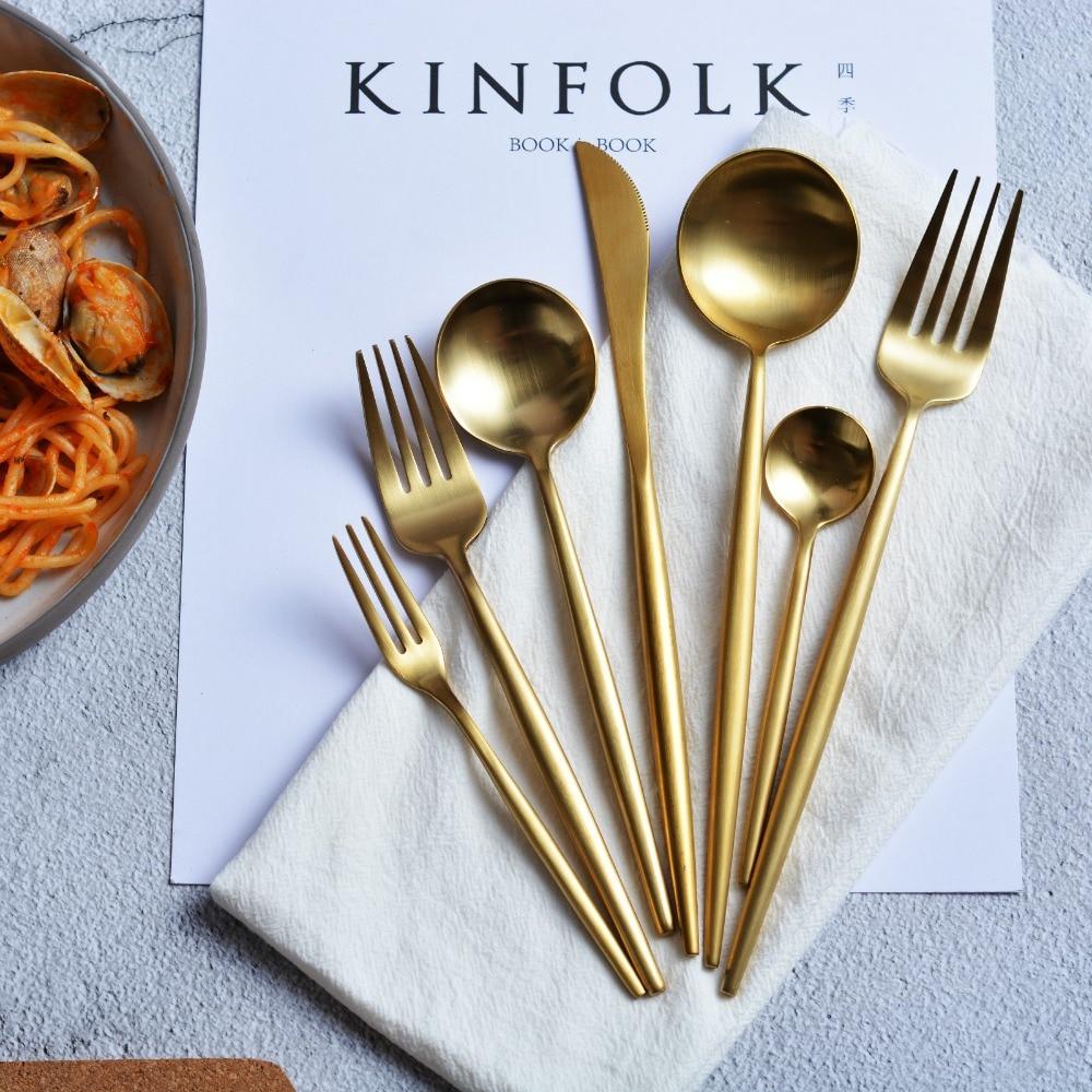 4pcs Gold Dinner Knife Fork Cutlery 18 10 Stainless Steel