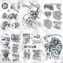 Sketch Curlicue Word Clown Mask Waterproof Temporary Tattoo Sticker Classic Old School Flash Tattoos Body Art Arm Fake Tatoo