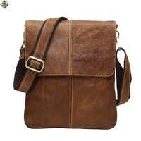 100% Guarantee Genuine Leather Bag High quality Natural Cowskin men messenger bags Vintage shoulder crossbody bag New 2019