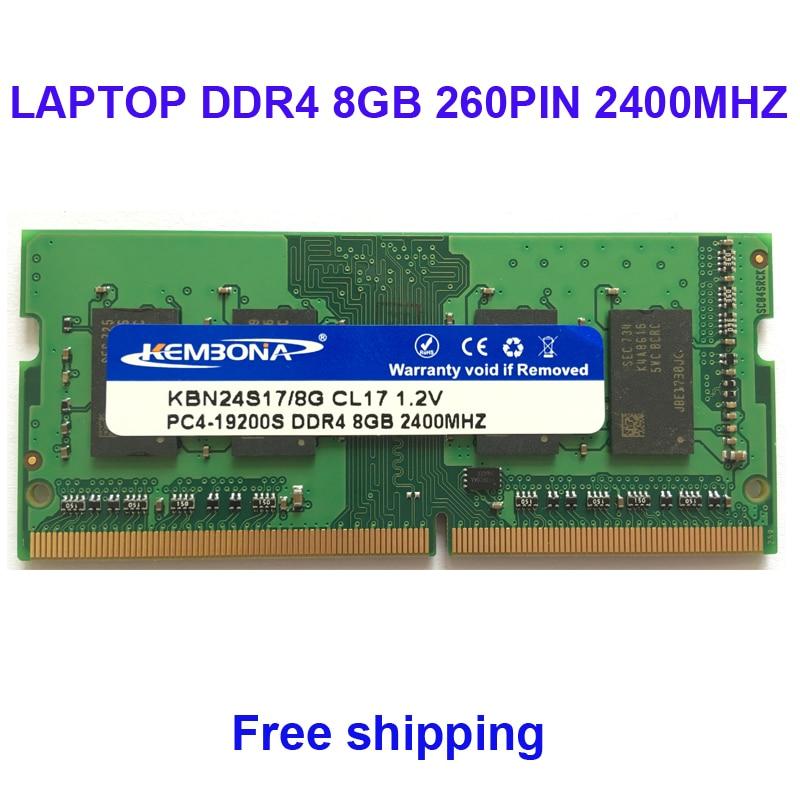Kembona Mémoire RAM ORDINATEUR PORTABLE DDR4 8 gb 2400 mhz 8g pour Ordinateur Portable SODIMM MODULE RAM 260PIN