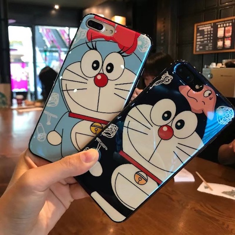 Brand NEW Fashion Cute Soft IMD Silicon Case for iPhone 7 7Plus 6s 6 Plus 8 8Plus X Phone Bag Cover Hot New Blue Ray DORAEMON
