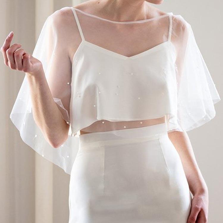 Simple Elegant Tulle Pearl Wedding Wraps Bolero bridal jacket ivory wedding jacket Wedding Accessories 2019