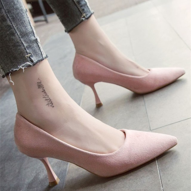 e4601e1687a EOEODOIT Autumn Low Kitten Heel Pumps Shoes Classic Stiletto Heels Pointed  Toe Women New 2018 Office Work Pumps Slip On 3 CM