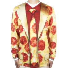 Funny Halloween Costume for Men Hilarious Pizza Tuxedo Printed Long Sleeve T Shirt Halloween Party Costumes Plus Size