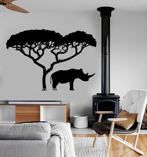Neuheiten Vinyl Wandtattoo Rhino Afrikanischen Natur Baum Landschaft Tier  Aufkleber Benutzerdefinierte Farbe Wandbild Tapete Wand Tattoo