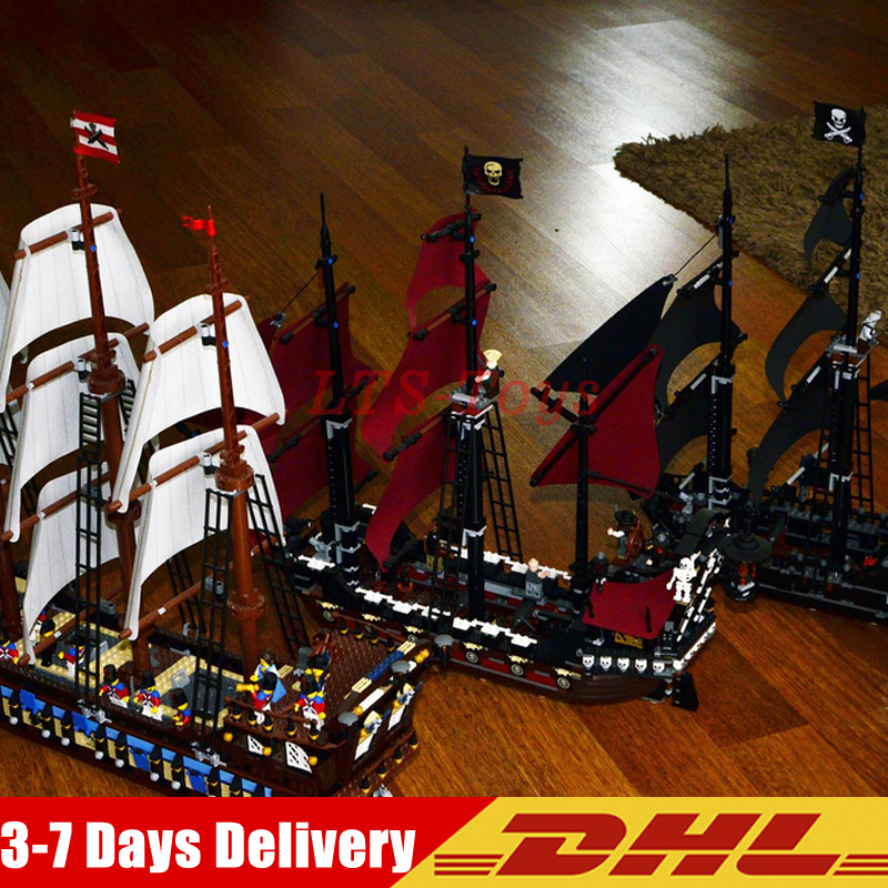 LEPIN 22001 Imperial Warships + 16006 Black Pearl Ship + 16009 Queen Anne's revenge Pirates Series Toys Clone 10210 4184 4195 2018 dhl lepin 16006 pirates caribbean ship the black pearl 16009 queen anne s revenge pirate ship building blocks set