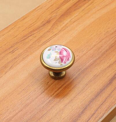 10 pcs / lot Vintage Ceramic Cabinet Knobs China Flower Furniture Hardware Handle & Knob