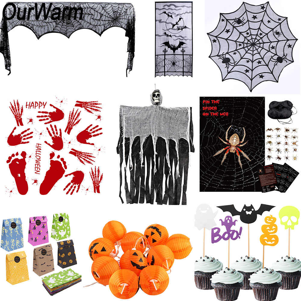 OurWarm Halloween Horror Props Spider Game Pumpkin String Light Lace Ghost Table cover Treat Trick Halloween Party Decorations