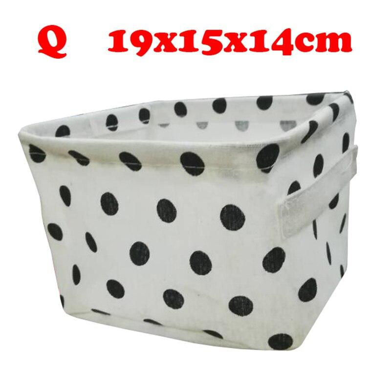 Настольный ящик для хранения с милым принтом, водонепроницаемый органайзер, хлопок, лен, корзина для хранения мелочей, шкаф, нижнее белье, сумка для хранения - Цвет: Q