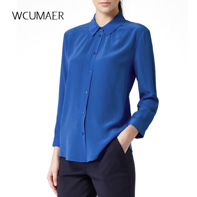 S XXXL women Royal blue Silk stretch satin blouse ladies casual ...